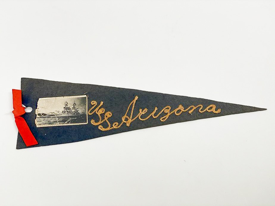 image of Commemorative Pennant, USS Arizona belonging to Donald Gordon, Donald Gordon, 1940/1941. From the collection of the Arizona Capitol Museum by