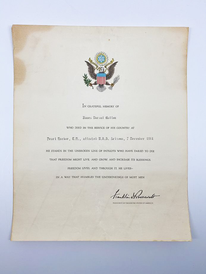 image of USS Arizona casualty, James Mattox, posthumous Presidential Citation, U.S. Government, 1941-1942. From the collection of the Arizona Capitol Museum by