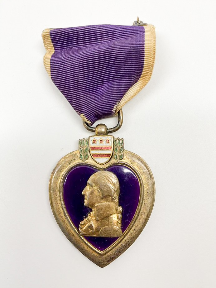 image of 1942/1943 USS Arizona casualty, James Mattox, posthumous Purple Heart Medal, U.S. Military, 1942/1943. From the collection of the Arizona Capitol Museum by