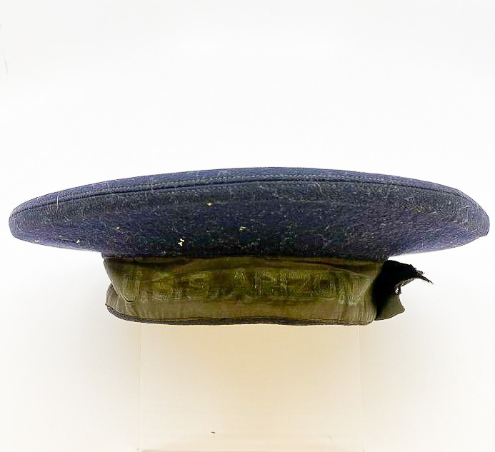 image of USS Arizona sailor's blue felt cap, U.S Military, 1940/1941. From the collection of the Arizona Capitol Museum by