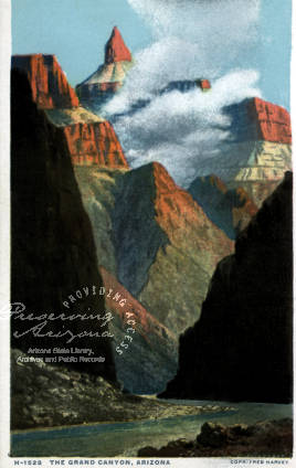 Colorized artist rendering of the Grand Canyon as seen from the Colorado River