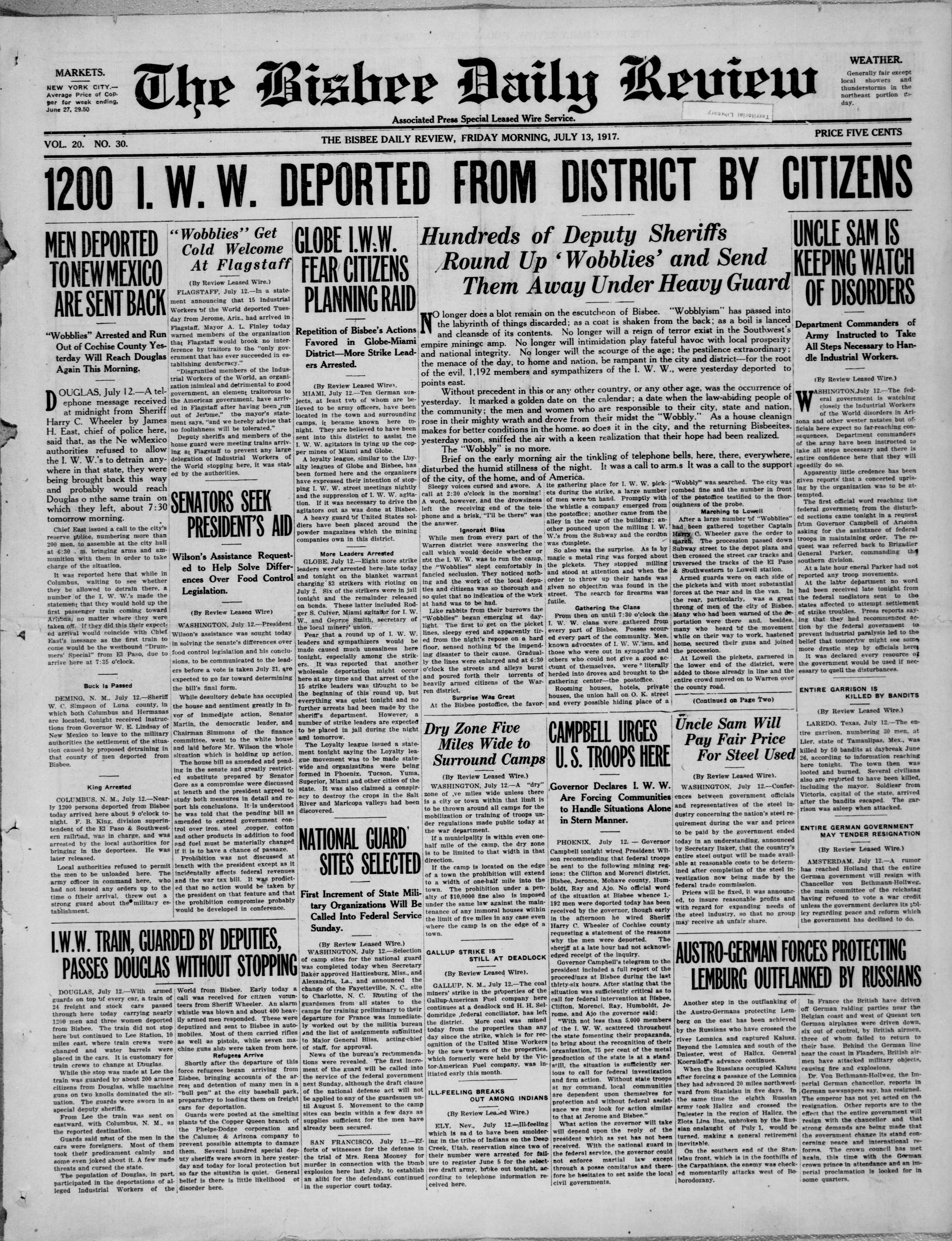 99 Years Ago Today : The Bisbee Deportation | Arizona Library