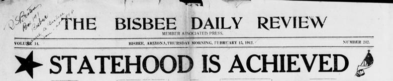 Bisbee Daily Review February 15, 1912 cover