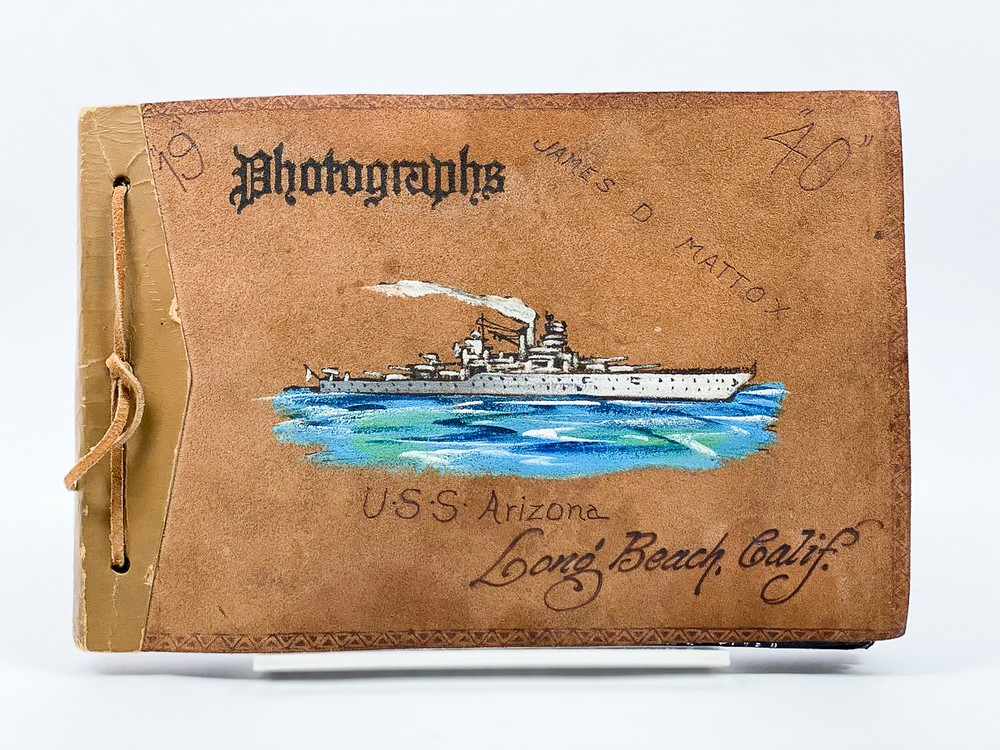 image of 1940-1941 USS Arizona souvenir album belonging to James Durant Mattox, 1939/1940. From the collection of the Arizona Capitol Museum by