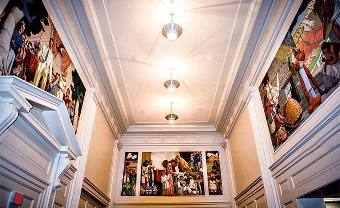 Photo of the murals in the State Library