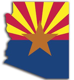 Arizona state with flag fillign AZ state shape