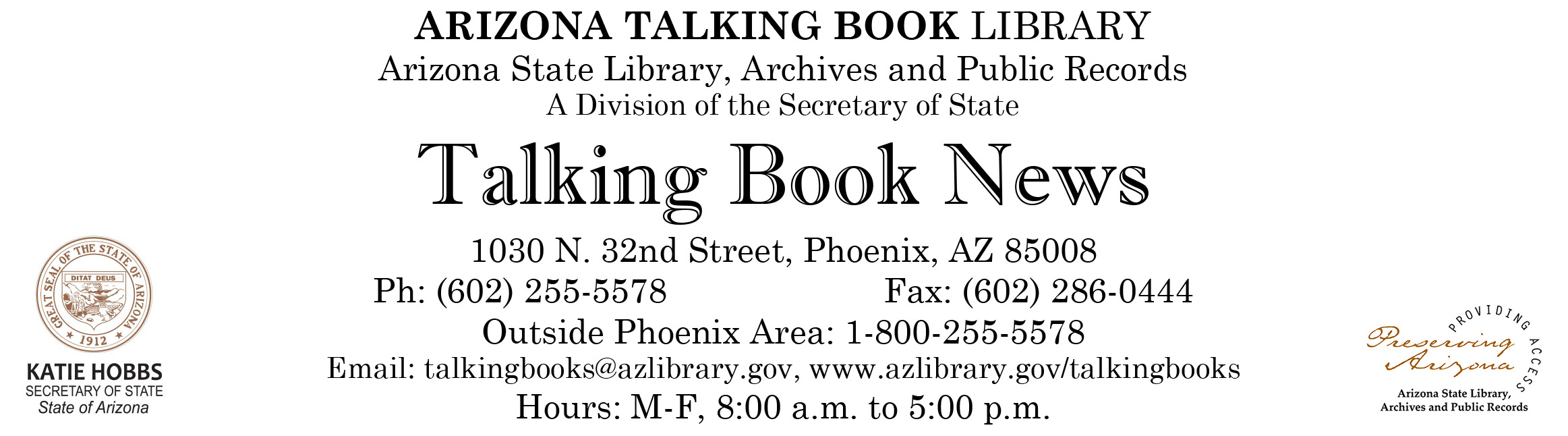 image of Talking Book News masthead